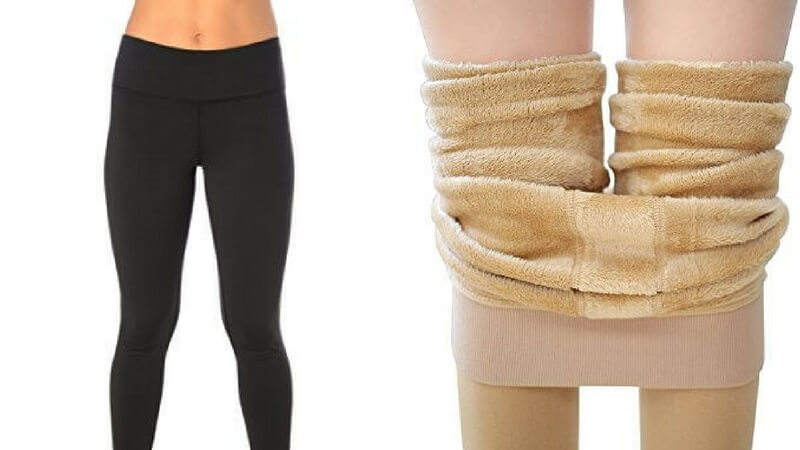 fleece lined leggings inside and outside look